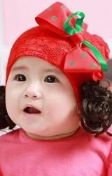 หมวกปอยผมผ้าลูกไม้แดงแต่งโบว์เขียว-แดง