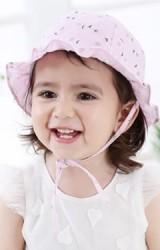 หมวกเด็กผ้าฝ้ายลายดอกขอบระบาย