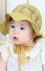 หมวกสาวน้อยปีกกว้างตัวหมวกลูกไม้ลายดอก