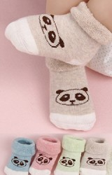 ถุงเท้าเด็กแบบหนาพับขอบหน้าหมีแพนด้า