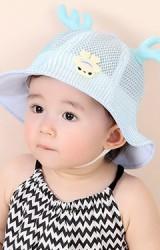 หมวกเด็กปีกรอบผ้าตาข่ายแต่งกวาง KUKUJI