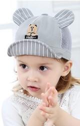 หมวกแก๊ปปักหน้าหมีน้อย อักษร Hello ด้านหลังผ้าตาข่าย