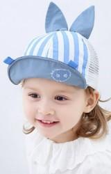 หมวกแก๊ปลายทางแต่งหูกระต่าย ด้านหลังผ้าตาข่ายนิ่ม