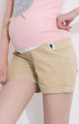 กางเกงคนท้องขาสั้นกระเป๋าแต่งรูปแมวเล็กๆ