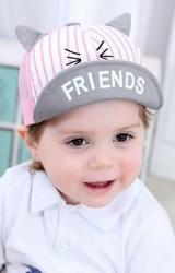 หมวกแก๊ปหน้าการ์ตูนหูแหลม ใต้หมวกสกรีนFRIENDS  ด้านหลังผ้าตาข่าย