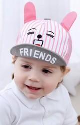 หมวกแก๊ปหน้าสัตว์น่ารัก ใต้หมวกสกรีน FRIENDS  ด้านหลังผ้าตาข่าย