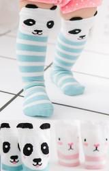 ถุงเท้าเด็กแบบยาวลายขวางหน้าแพนด้าและกระต่าย