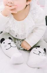 ถุงน่องเด็กลายหน้าหมีน้อย สีเทา-ขาว