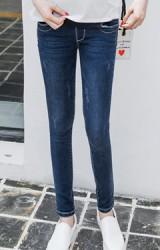 กางเกงยีนส์คนท้องขายาวทรงสวยสไตล์เรียบๆ
