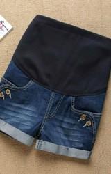 กางเกงคนท้องขาสั้นกระเป๋าข้างแต่งกระดุมคู่เท่ๆ