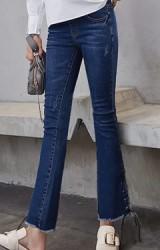 กางเกงยีนส์ขายาวคนท้องปลายขาบาน ด้านข้างร้อยเชือกผูกโบว์