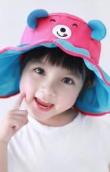 หมวกกันแดดปีกกว้างผ้าร่มหน้าหมีน้อยแต่งหูน่ารัก GZMM