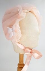 หมวกเด็กหญิงสีโอลโรสแต่งดอกไม้หวาน