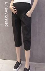 กางเกงคลุมท้องสีดำขา 4 ส่วนทรงปล่อยใส่สบาย