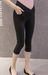 กางเกงคนท้องเอวต่ำขา 4 ส่วน ผ้ายืดหยุ่นใส่สบาย