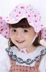 หมวกเด็กปีกกว้างลายดาว หมวกกันแดดเด็ก