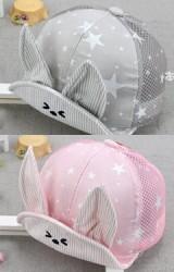หมวกแก๊ปกระต่ายหูตั้งลายดาว ด้านหลังผ้าตาข่าย KUKUJI
