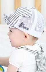 หมวกแก๊ปเด็กลายทางแต่งหูแหลมเจาะห่วง จาก KUKUJI