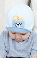หมวกแก๊ปเด็กแต่งกระเป๋าเล็กหน้าหมี TIANYIBEAR
