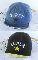 หมวกแก๊ปยีนส์ปักดาวและอักษร SUPER ใต้ปีกลายทาง