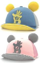 หมวกแก๊ปแต่งรูปหมีอักษร B แต่งหูกลมนูนด้านหลังผ้าตาข่าย