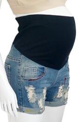 กางเกงคนท้องผ้ายืดขาสั้นปลายขาพับแต่งลายขาด ป้ายสีเซอร์ๆ