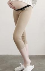 กางเกงเลคกิ้งคนท้องเอวต่ำ ขา 4 ส่วน ขอบเอวยางยืดสีดำ