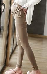 กางเกงเลคกิ้งคนท้องขายาว ด้านหน้าเอวผูก รองรับขนาดครรภ์ที่ใหญ่