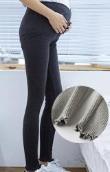 กางเกงคนท้องเอวต่ำ ขายาวผ้ายืดลอนลูกฟูก