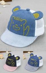 หมวกแก๊ปยีนส์ปักหน้าหมีน้อย KUKUJI ด้านหลังผ้าตาข่าย