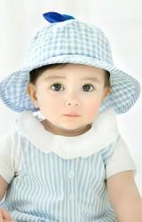 หมวกกันแดดเด็กผ้าฝ้ายลายตาราง ด้านบนแต่งปอมปอม GZMM