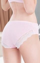 กางเกงในคนท้องแบบเอวต่ำขอบด้านหลังแต่งลูกไม้ขาว
