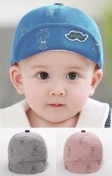 หมวกแก๊ปเด็กลายต้นกระบองเพชร ใต้ปีกหมวกปักรูปหนวด  TUTUYA