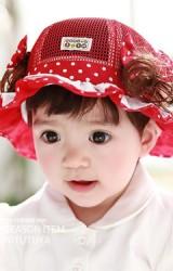 หมวกสาวน้อยผ้าตาข่าย แต่งโบว์ข้างและปอยผมเล็กๆ จาก TUTUYA