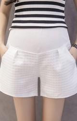 กางเกงขาสั้นคนท้อง ผ้าลายสี่เหลี่ยม