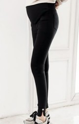 กางเกงคลุมท้องขายาวสีดำปลายขาเว้าโค้ง