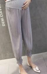 กางเกงคนท้องผ้าพลีทปลายขาจั๊ม