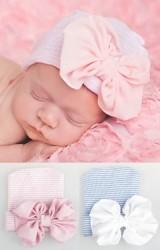 หมวกเด็กหญิงแรกเกิดแต่งโบว์หวาน