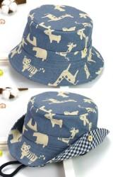 หมวกบักเก็ตลายสัตว์น้อยน่ารัก  ใต้ปีกลายตาราง
