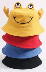 หมวกบักเก็ตปูน้อย มีสายยืดคล้องใต้คาง