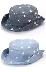 หมวกปีกรอบลายดาว ปีกหมวกสามารถพับติดกระดุมข้าง