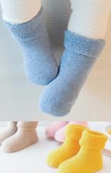 ถุงเท้าเด็กข้อสั้นแบบหนาแบบสีพื้น ไม่มีกันลื่น