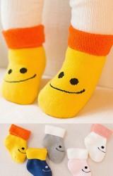 ถุงเท้าเด็กข้อสั้นแบบหนา ลายยิ้ม ไม่มีกันลื่น