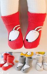 ถุงเท้าเด็กข้อสั้นแบบหนา ลายหน้าสัตว์น่ารัก