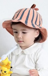หมวกปีกรอบลายแตงโม ผ้าลูกฟูก KUKUJI