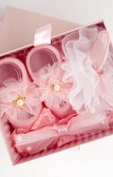เซ็ตถุงเท้าเด็กมาพร้อมสายคาดผม โทนสีชมพู ถุงเท้าแต่งดอกไม้ สายคาดผมหูกระต่ายและโบว์