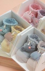 ถุงเท้าเด็กแต่งการ์ตูนแมวและปลานูนน่ารัก กล่อง 2 คู่