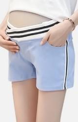 กางเกงคนท้องขาสั้นเอวต่ำ ขอบเอวและด้านข้างลายทาง