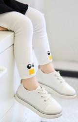 กางเกงเลคกิ้งเด็กสีขาวปลายขาลายหน้าเป็ดน้อย