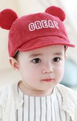 หมวกแก๊ปเด็กผ้าลูกฟูกแต่งหูปัก GREAT จาก TUTUYA